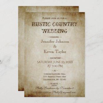 rustic country wedding distressed vintage invitation