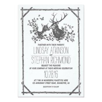 rustic country wedding invites with deer