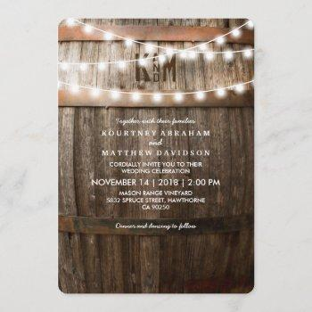 rustic country wedding   string of lights invitation