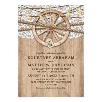 rustic country wedding | wooden wheel invitation
