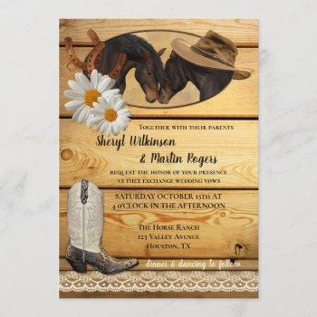 rustic country western horses wedding invitation