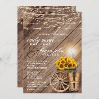 rustic country with wood barrel and sunflowers invitation