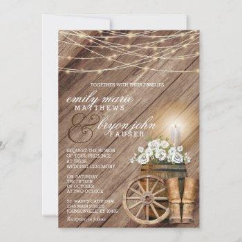 rustic country with wood barrel and white floral invitation