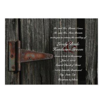 rustic country wood barn door wedding invitation
