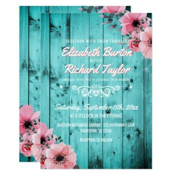 rustic country wood pink floral boho teal wedding invitation