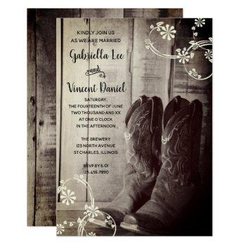 rustic cowboy boots floral country western wedding invitation