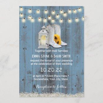rustic cowboy boots lantern dusty blue wedding invitation