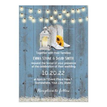 rustic cowboy boots lantern dusty blue wedding invitation