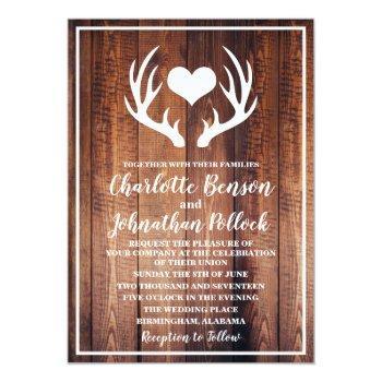 rustic dark barn wood & white deer antlers wedding invitation