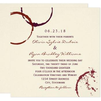 rustic dark red wine stain wedding invitation