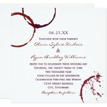 rustic dark red wine stain wedding invitation