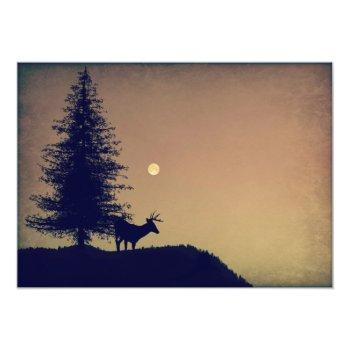 Small Rustic Deer Pine Tree Country Wedding Invitations Back View