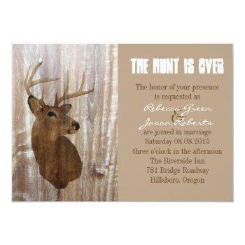 rustic deer the hunt is over wedding invitation