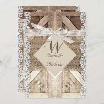 rustic door wedding lace wood burlap writing 2a invitation