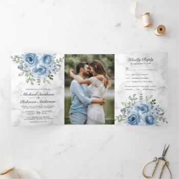 rustic dusty blue roses photo white marble wedding tri-fold invitation