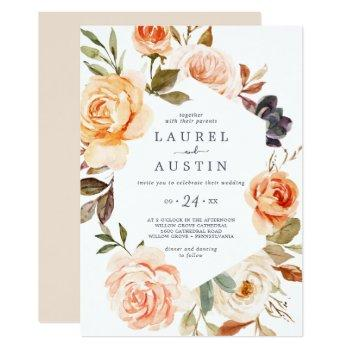 rustic earth florals casual wedding invitation