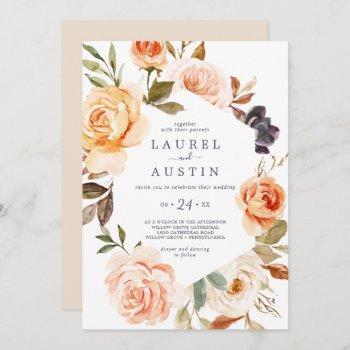 rustic earth florals casual wedding invitation