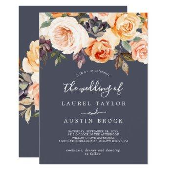 rustic earth florals | purple the wedding of invitation