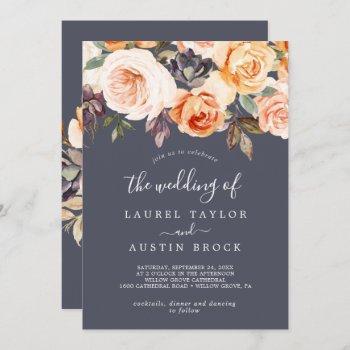rustic earth florals | purple the wedding of invitation