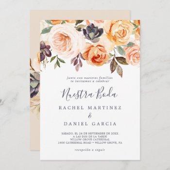 rustic earth florals spanish nuestra boda invitation