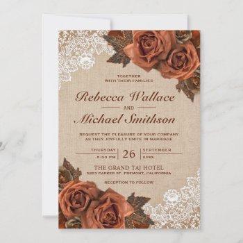 rustic earthy burlap dusty terracotta rose wedding invitation