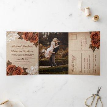 rustic earthy burlap dusty terracotta rose wedding tri-fold invitation