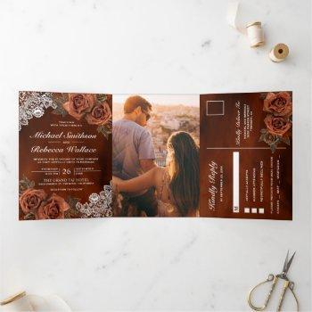 rustic earthy orange dusty terracotta rose wedding tri-fold invitation