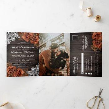 rustic earthy wood dusty terracotta rose wedding tri-fold invitation