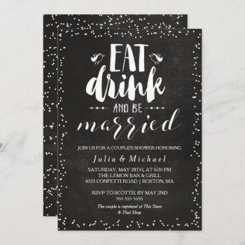 rustic eat drink & be married couple's shower invitation