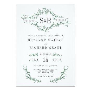 rustic elegant floral monogram wedding invitations