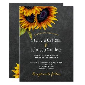rustic elegant sunflower chalkboard wedding invitation