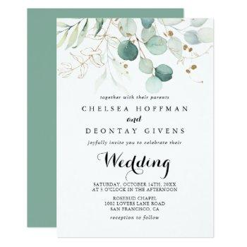 rustic eucalyptus gold floral front & back wedding invitation