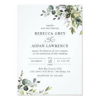 Small Rustic Eucalyptus Greenery Wedding Invitation Front View