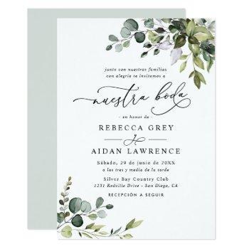 rustic eucalyptus leaves greenery neustra boda invitation