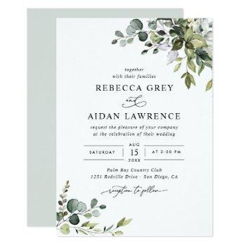 rustic eucalyptus leaves greenery wedding invitation