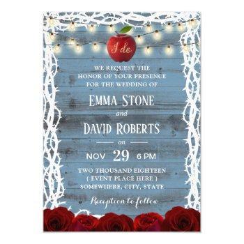 rustic fairy tale snow white dusty blue wedding invitation