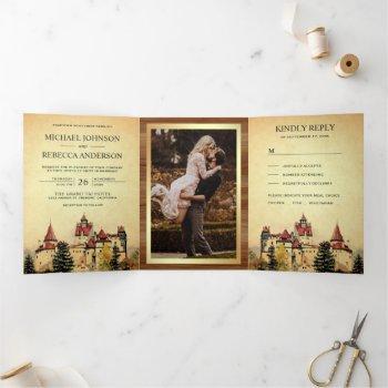 rustic fairytale castle princess storybook wedding tri-fold invitation