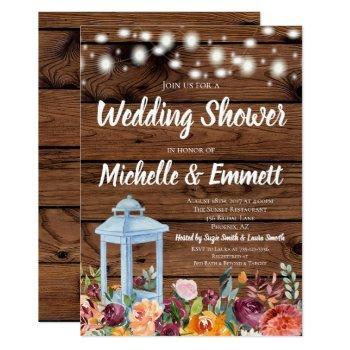 rustic fall autumn floral lantern wedding shower invitation