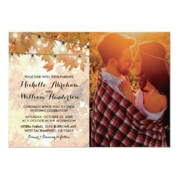 rustic fall autumn tree lights photo wedding invitation