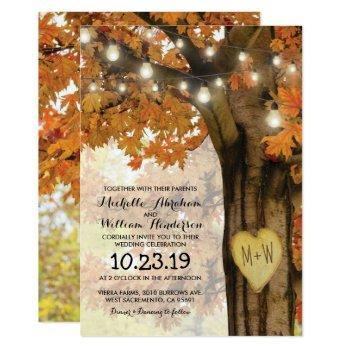 rustic fall autumn tree twinkle lights wedding invitation