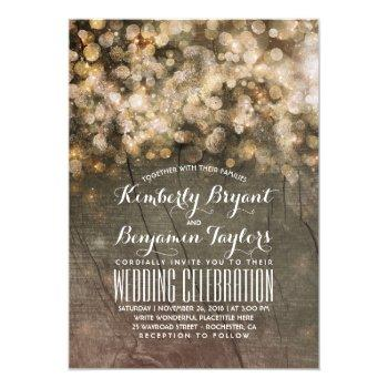 rustic fall gold glitter lights wood wedding invitation