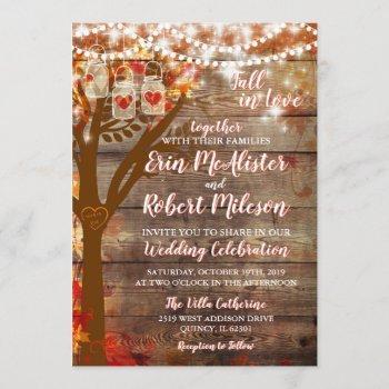 rustic fall in love oak tree wedding invitation
