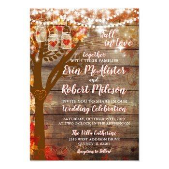 rustic fall in love oak tree wedding invitation