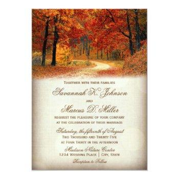 rustic fall leaves autumn wedding invitations