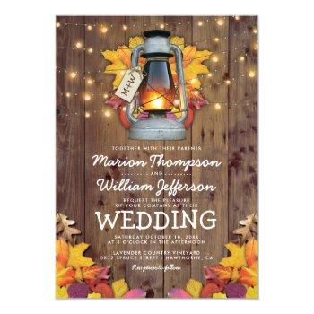 rustic fall string lights autumn leaves wedding invitation
