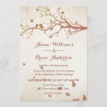 rustic fall tree love birds vintage wedding invitation