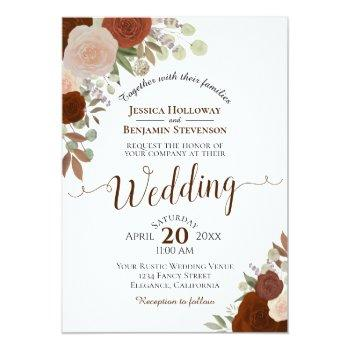 Small Rustic Fall Watercolor Floral Rust Orange Wedding Invitation Front View
