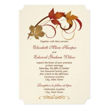 rustic falling leaves wedding invitation