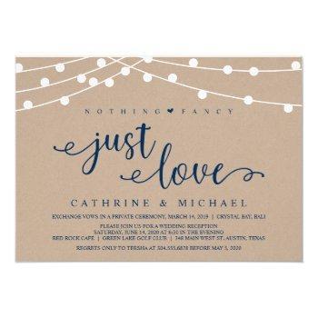 rustic farm string lights, navy wedding elopement invitation