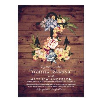 rustic floral anchor   elegant wedding party invitation